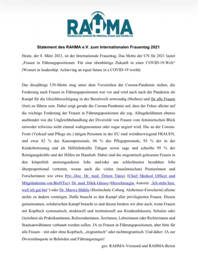 Statement des RAHMA e.V. zum Internationalen Frauentag 2021
